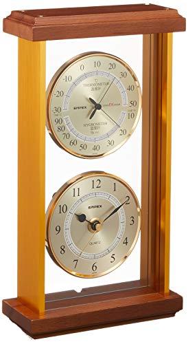 エンペックス気象計 温度湿度計 スーパーEXギャラリー 温度 湿度 時計表示 置き用 日本製 ブラウン EX-742
