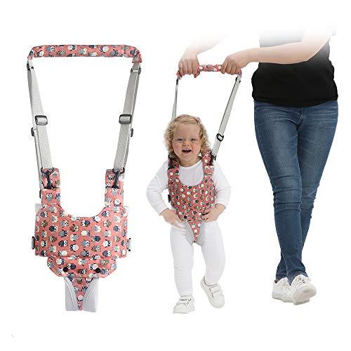 YEALEO Lauflernhilfe Gehhilfe für Baby Stehen Gehen Lernen Helfer Walker Sicherheitsleinen, 4 in 1 Funktionale Lauflerngurt für Kinder 7-24 Monate, B-Rosa Eule