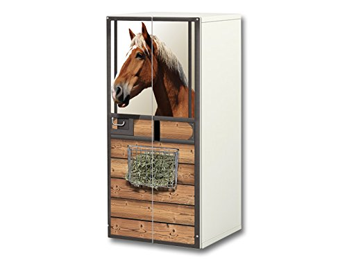 Stikkipix Pferdewelt Aufkleber-Set | SC39 | passend für den Kinderzimmer Schrank STUVA von IKEA (Korpus: 60 x 128 cm) | Möbel Nicht Inklusive