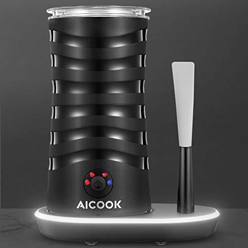 AICOOK Montalatte Elettrico 4 In1, per Schiuma di Latte Calda e Fredda con Doppia Parete, Interno Antiaderente, Base di Illuminazione con Raschietto in Silicone, per Cappuccino, Latte, caffè