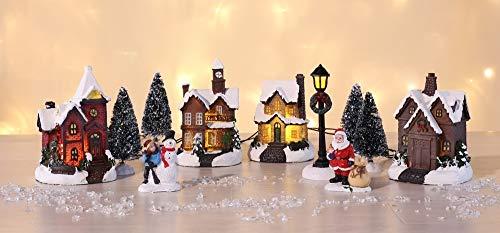 Weihnachtsstadt mit Schneedekoration Weihnachtsdorf LED Lichthäuser 3D Weihnachtsszene Dekoration Weihnachten