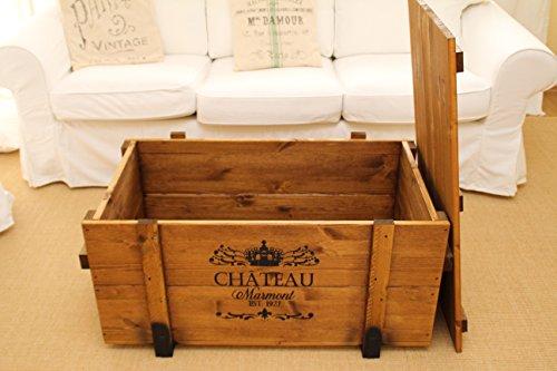 Uncle Joes Truhe Chateau Couchtisch Truhentisch im Vintage Shabby chic Style Massiv-Holz in braun mit Stauraum und Deckel Holzkiste Beistelltisch Landhaus Wohnzimmertisch - 3