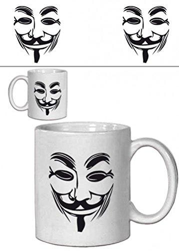 1art1 V De Vendetta - Máscara Guy Fawkes Taza Foto (9 x 8cm)