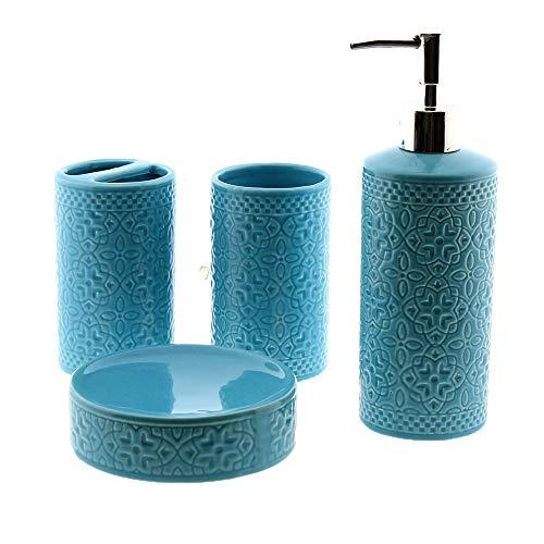 Cuco´S Nest Set de Baño de 4 Piezas de Ceramica Mod. Flor. Conjunto de Accesorios de sobreponer para el Lavabo.
