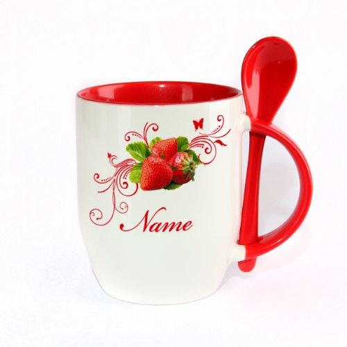 Herz & Heim® Löffeltasse - Erdbeere - mit Wunschnamen