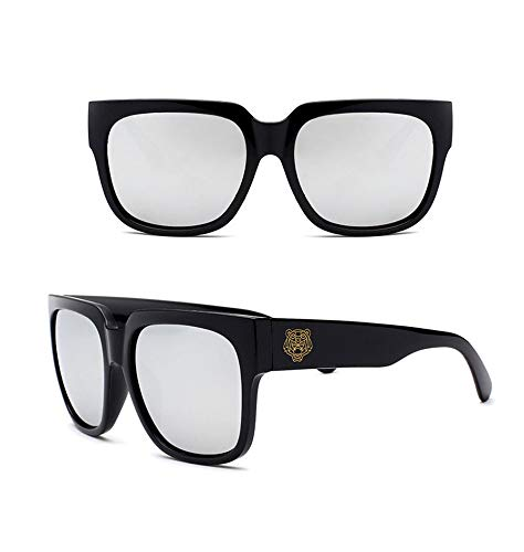 P-WEIAN Gafas de Sol Retro Caja Grande Tiger Head Gafas de Sol Unisex, Marco Negro Arena Comprimidos de Mercurio