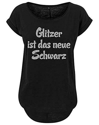 Livingstyle & Wanddesign Damen Long Slub Tee Glitzer ist das Neue Schwarz Schwarz, Gr. M