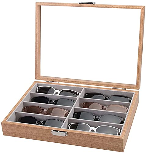 Homeanda Eyeglass - Funda organizadora para gafas de sol (8 ranuras, madera)