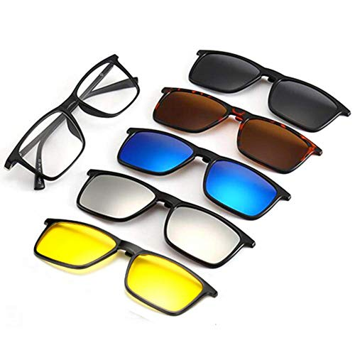 AOHENG TR90 5Pcs Magnetic Clip on Sunglasses Over Glasses for Night Driving