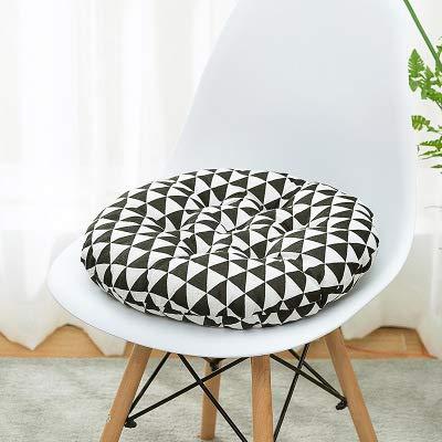 Nicole Knupfer 2er Set Rund Stuhlkissen, Auflage Sitzauflage Baumwolle und Leinen Sitzkissen für Indoor und Outdoor (I,Durchmesser 40 cm)