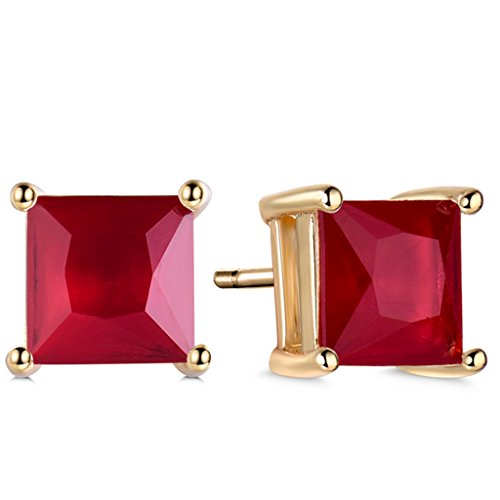 GULICX Yellow Gold Tone favorite Ruby Color Red CZ Intriguing Stud Earrings