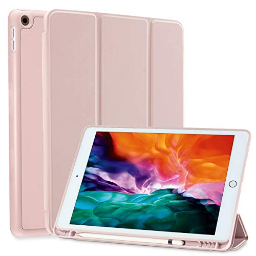 SIWENGDE Case for iPad 9.7 Inch 2018/2017(6th/5th Generation) Ultra Slim Lightweight Smart Case, Trifold Cover Stand with Soft TPU Back Cover for Apple iPad,Smart Cover Auto Wake/Sleep (Tender Pink)