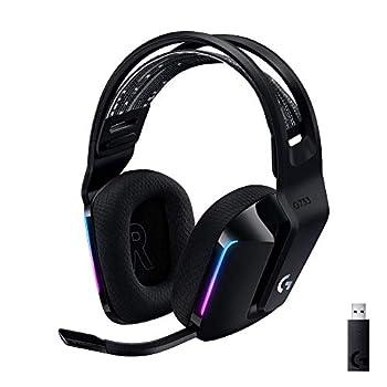 Logitech G733 Lightspeed Wireless Gaming Headset with Suspension Headband Lightsync RGB Blue VO!CE mic technology and PRO-G audio drivers - Black