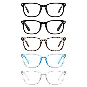 CCVOO 5 Pack Blue Light Blocking Reading Glasses Women/Men, Anti UV Ray Readers Fashion Nerd Eyeglasses with Spring Hinge
