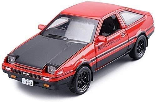 KJAEDL Modelo de Coches para niños Modelo de Auto Fundido AE86 AE86 Escala Inicial D EN Modelo DE Alloy DE Madera Rojo -15x6x5cm 1:28 Escala