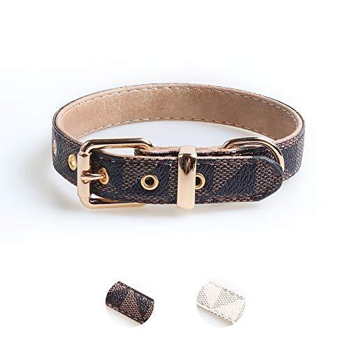 Collar de piel para cachorro, collar de piel de lujo clásico básico, collar con patrón de cuadros, collar de cuero duradero con hebilla de metal, adecuado para perros pequeños y medianos