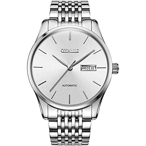 Relojes Hombres Reloj con Correa de Acero Inoxidable Relojes de Pulsera Impermeables para Hombres de Negocios Hombres -D