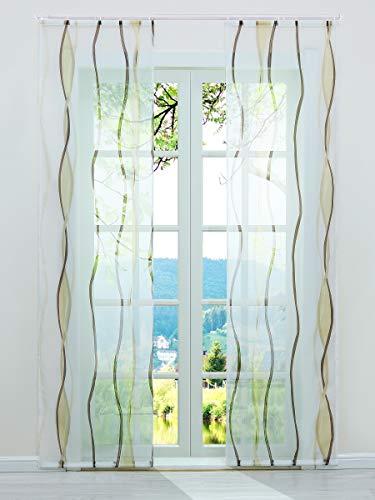 ESLIR Schiebegardinen Set 2er Flächenvorhänge Gardinen mit Klettband Schiebevorhang Transparent Vorhang mit Wellen Druck Voile Sand BxH 57x245cm 2 Stück