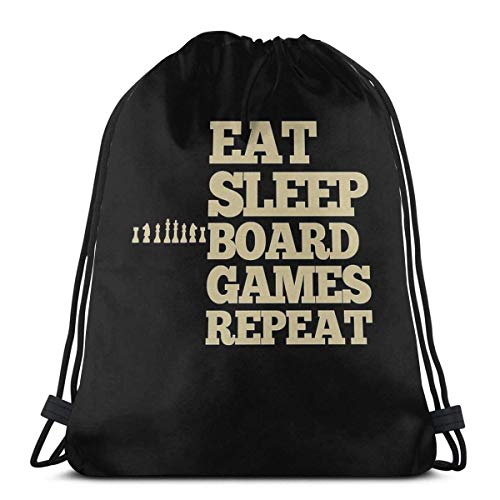 AOOEDM Brettspiele - Essen - Schlafen - Sport Sackpack Drawstring Backpack Gym Bag Sack wiederholen