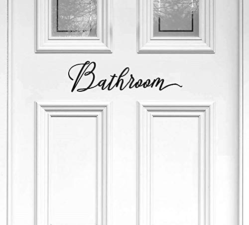 "BERRYZILLA Bathroom Decal 11"" x 3"" toilettes, Restroom, Closet Water, Door Vinyl Decal Script Handwriting Wall Art Decor Sticker Lettering"