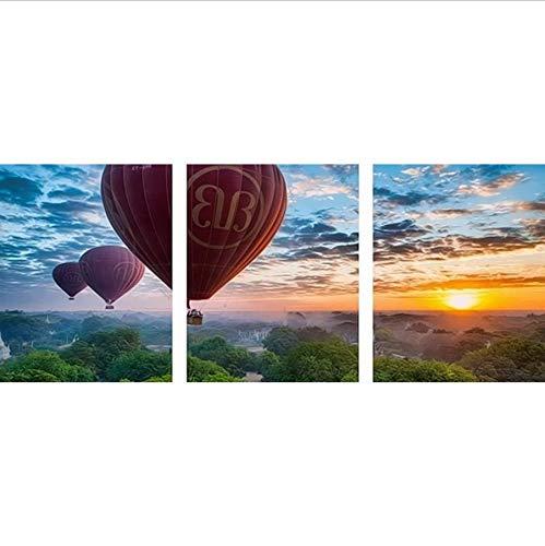 Djkaa 3-delige grote foto om zelf te maken op acryl muurschildering met cijfers landschap Home Decor Coloring by Nummers Balloon Sunset 40*50cm(15.75*19.69 inch) Without Frame