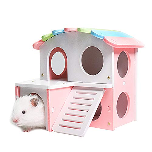 iFCOW Hamstervilla Hütte Doppelstöckiges Hamster Spielhaus Kleintier Haustier Versteck Schlafhaus Nest Fossa Eichhörnchen Kaninchen