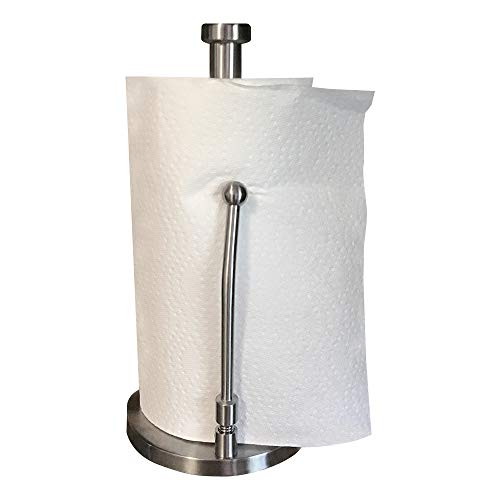 Best Stainless Steel Kitchen Paper Towel Holder Stand - Tension Spring Arm for Easy Roll of 1+ Sheets - Perfect Tear Dispenser Tension Arm, Weighted Anti-slip Base Countertop Model