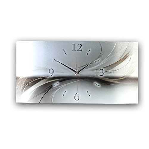 Kreative Feder Abstrakt Silber Metallic Designer Funk Wanduhr Funkuhr modernes Design * Made in Germany* WAG126FL * leise kein Ticken (50x25cm Funkuhr)