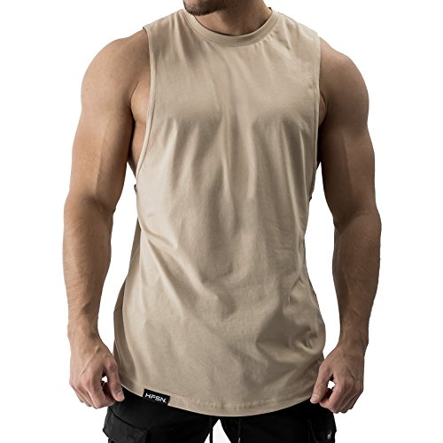 Hyperfusion All Day Cut Off Tank Top Herren Shirt Gym Fitness (M, Sand)