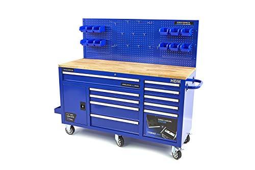 Profi Werkstattwagen blau - Werkstattschrank 158 cm 10 Schubladen Werkbank mit Tür und Rückwand - Arbeitsplatte aus Massivholz, 3 cm stark, Profi fahrbare Werkbank mit Schubladen