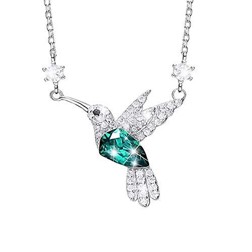 Colgante de damasElegantes collares con colgante de colibrí Esmeralda de diamantes de imitación Cz diamante piedra verde pájaro gargantilla delicada joyería regalo para novia]],null,en]]]