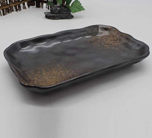 TONGS Teller,Japanisch Stil,Lange Sushi Teller,Schwarz Kebab,Grill Teller,Keramisch Gericht,Geschirr Geschirr Küche Vorräte/Schwarz / 20x12.4x2.7cm