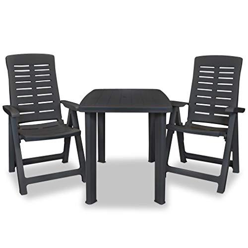 Tidyard Muebles de Jardin Exterior Conjuntos Set de Mesa y sillas de jardín 3 Piezas plástico Gris Antracita