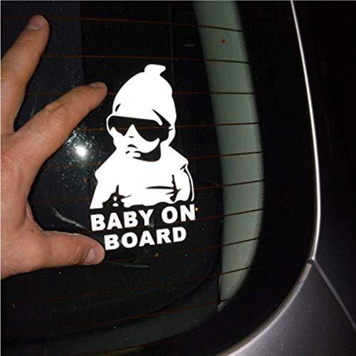 Zybnb 14 * 9Cm Bébé À Bord Cool Lunettes De Soleil Arrière Réfléchissantes Autocollants Voiture Autocollants Avertissement Noir/Argent -3Pcs
