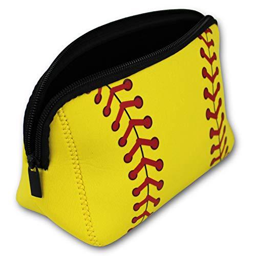Knitpopshop Baseball Softball Make Up Bag Cosmetics Toiletries Neoprene washable zipper women girls mom gift team player (Softball)