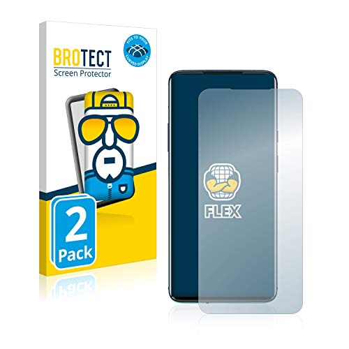 BROTECT Full-Cover Schutzfolie kompatibel mit OnePlus 7T Pro (2 Stück) - Full-Screen Bildschirmschutz-Folie, 3D Curved, Kristall-Klar