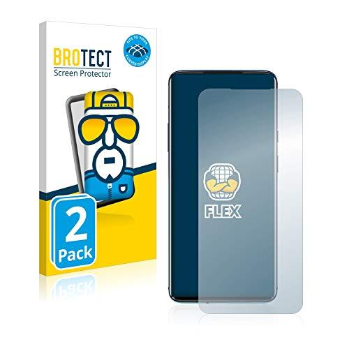 BROTECT Full-Cover Schutzfolie kompatibel mit OnePlus 7T Pro (2 Stück) - Full-Screen Displayschutz-Folie, 3D Curved, Kristall-Klar