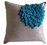 Fundas para cojines cuadradas modernas, hechas a mano, de tela símil gamuza color gris, con aplique de medallón floral color turquesa, ante, marrón topo, 65_x_65 cm
