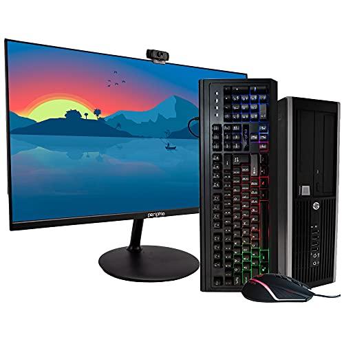 HP EliteDesk 8200 Business Desktop PC - Intel Core i7-2600 3.4GHz, 16GB RAM, 500GB Solid State, Windows 10 Pro 64bit, New Periphio 24 Inch Monitor, Periphio Rainbow Keyboard and Mouse (Renewed)