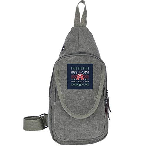 AHISHNF Hey Come Lets Go Weihnachts-Bier-Strickmuster Reise-Brusttasche für Männer und Frauen, Mehrzweck-Tagesrucksack, Wandern, Schultertasche