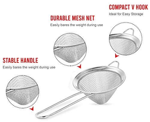 KITCHENISTIC Fine Mesh Stainless Steel 3.1 inch Conical Strainer.- Best for Straining Food, Coffee, Tea, Fruit Pulp… |