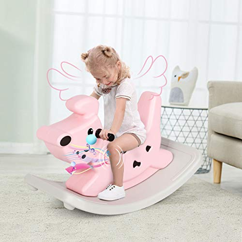 Multigot Baby Rocking Horse, Early Educational Animal Rocker Chair with Music and Handle Grip, Toddler Rocker Ride Horse Toy for 6-36 Months Boys and Girls