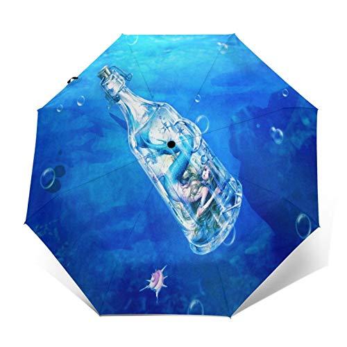 TISAGUER Paraguas automático de Apertura/Cierre,Sirena en Botella a la Deriva flotando en el mar,Paraguas pequeño Plegable a Prueba de Viento