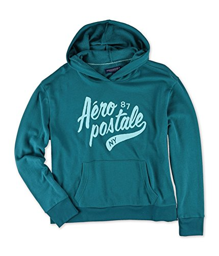 Aeropostale Womens Puff Script NY Hoodie Sweatshirt, Green, X-Small