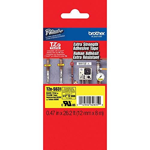"""Brother Genuine P-touch TZE-S631 Tape, 1/2"""" (0.47"""") Wide Extra-Strength Adhesive Laminated Tape, Black on Yellow, Laminated for Indoor or Outdoor Use, Water-Resistant,0.47"""" x 26.2' (12mm x 8M),TZES631"""