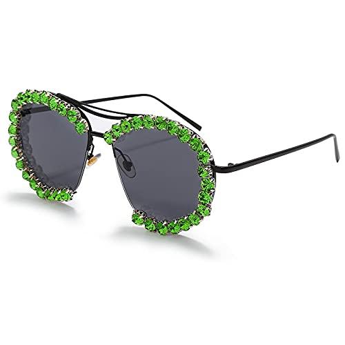 ShSnnwrl Único Gafas de Sol Sunglasses Gafas De Sol De Diamante De Gran Tamaño para Mujer, Gafas De Sol De Piloto Clásicas para H
