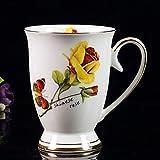 HRDZ Descripción de la Taza Taza de café de Porcelana de Hueso Dorado Taza de té Rojo Creativo Taza de Agua de cerámica