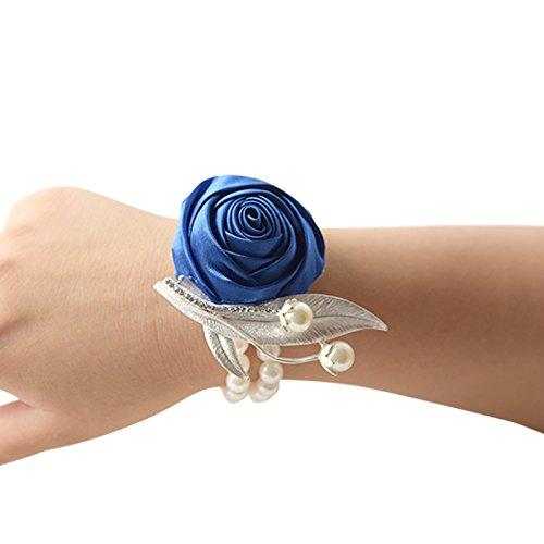 Tianu Pulsera de perlas de boda con diseño de rosas para niña o dama