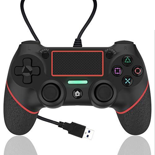 AQCTIM Wired Controller per PS4,Controller Gamepad Joystick per PS4/Pro/ Slim/Steam Wired Controller Panel con Doppia Vibrazione a Sei Assi (rosso)