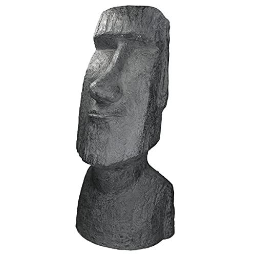 ECD Germany Moai Rapa Nui Kopf Figur 56cm hoch, aus wetterfestem Steinguss Kunstharz, Anthrazit, Osterinsel Statue als Dekoration für Haus & Garten, Gartenfigur Dekofigur, Skulptur für Innen und Außen